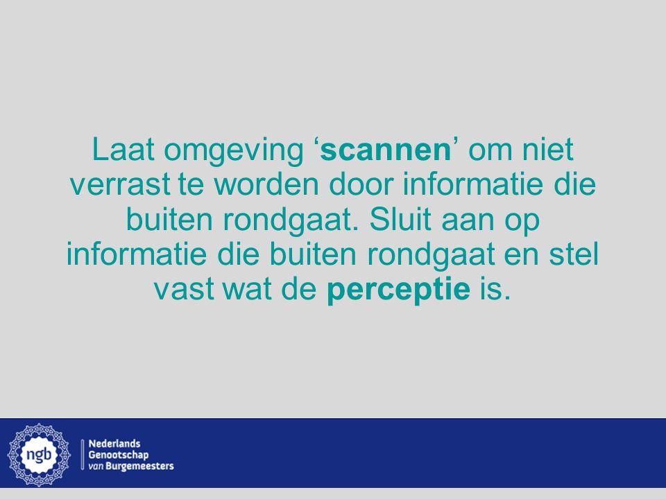 www.burgemeesters.nl Laat omgeving 'scannen' om niet verrast te worden door informatie die buiten rondgaat. Sluit aan op informatie die buiten rondgaa