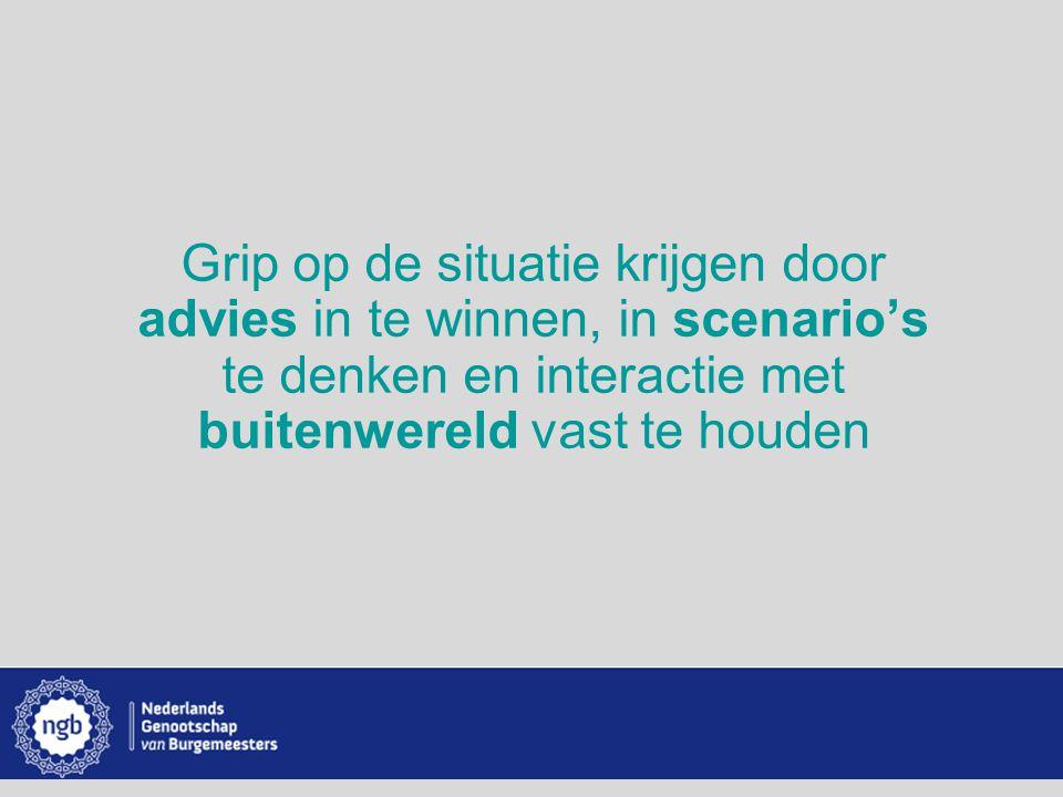 www.burgemeesters.nl Grip op de situatie krijgen door advies in te winnen, in scenario's te denken en interactie met buitenwereld vast te houden