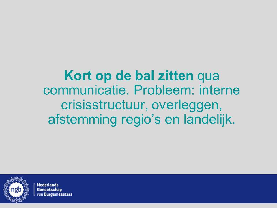 www.burgemeesters.nl Kort op de bal zitten qua communicatie. Probleem: interne crisisstructuur, overleggen, afstemming regio's en landelijk.