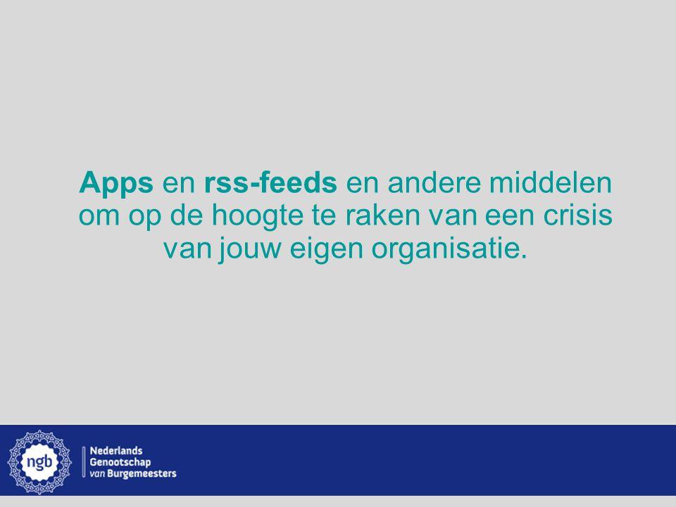 Apps en rss-feeds en andere middelen om op de hoogte te raken van een crisis van jouw eigen organisatie.