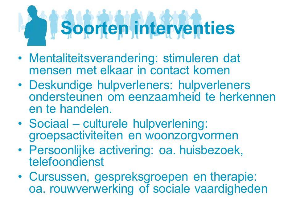 Soorten interventies •Mentaliteitsverandering: stimuleren dat mensen met elkaar in contact komen •Deskundige hulpverleners: hulpverleners ondersteunen