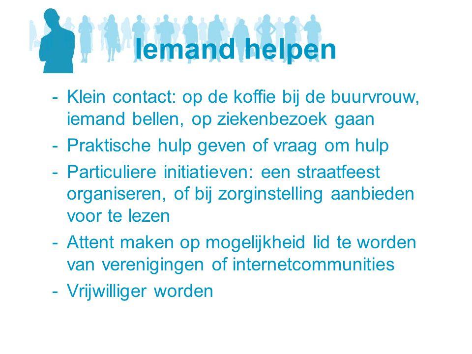 Iemand helpen -Klein contact: op de koffie bij de buurvrouw, iemand bellen, op ziekenbezoek gaan -Praktische hulp geven of vraag om hulp -Particuliere