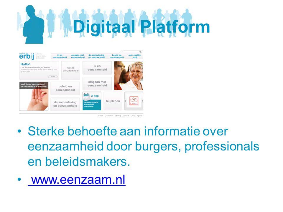 Digitaal Platform •Sterke behoefte aan informatie over eenzaamheid door burgers, professionals en beleidsmakers. • www.eenzaam.nl www.eenzaam.nl