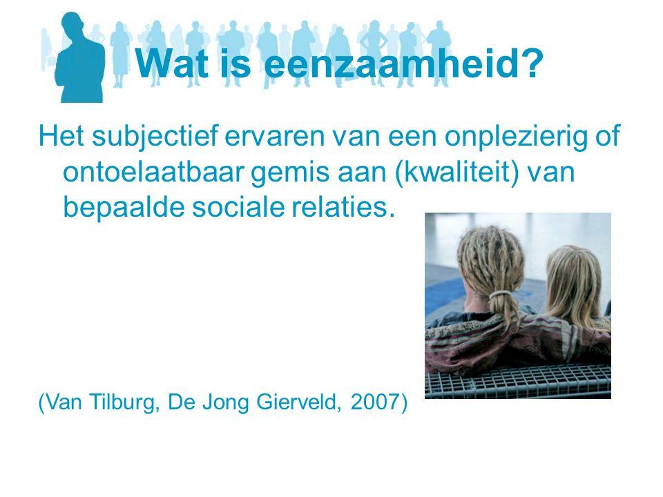 Het subjectief ervaren van een onplezierig of ontoelaatbaar gemis aan (kwaliteit) van bepaalde sociale relaties. (Van Tilburg, De Jong Gierveld, 2007)