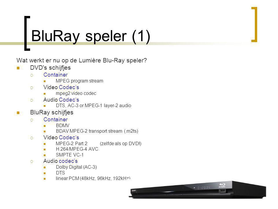 BluRay speler (1) Wat werkt er nu op de Lumière Blu-Ray speler.