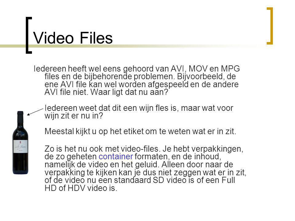 Video Files Iedereen heeft wel eens gehoord van AVI, MOV en MPG files en de bijbehorende problemen.