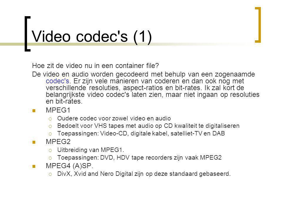 Video codec s (1) Hoe zit de video nu in een container file.
