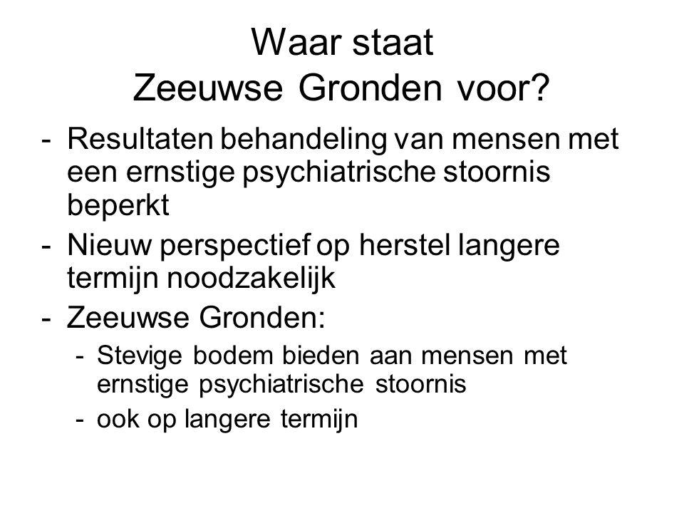 Waar staat Zeeuwse Gronden voor? -Resultaten behandeling van mensen met een ernstige psychiatrische stoornis beperkt -Nieuw perspectief op herstel lan