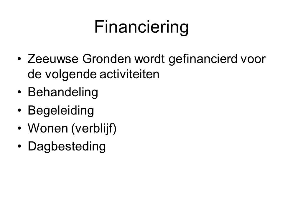 Financiering •Zeeuwse Gronden wordt gefinancierd voor de volgende activiteiten •Behandeling •Begeleiding •Wonen (verblijf) •Dagbesteding