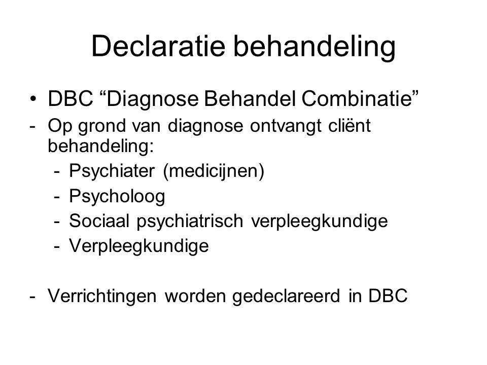 """Declaratie behandeling •DBC """"Diagnose Behandel Combinatie"""" -Op grond van diagnose ontvangt cliënt behandeling: -Psychiater (medicijnen) -Psycholoog -S"""
