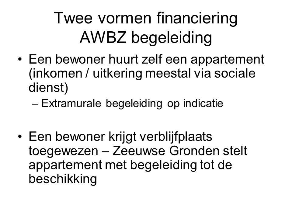 Twee vormen financiering AWBZ begeleiding •Een bewoner huurt zelf een appartement (inkomen / uitkering meestal via sociale dienst) –Extramurale begele