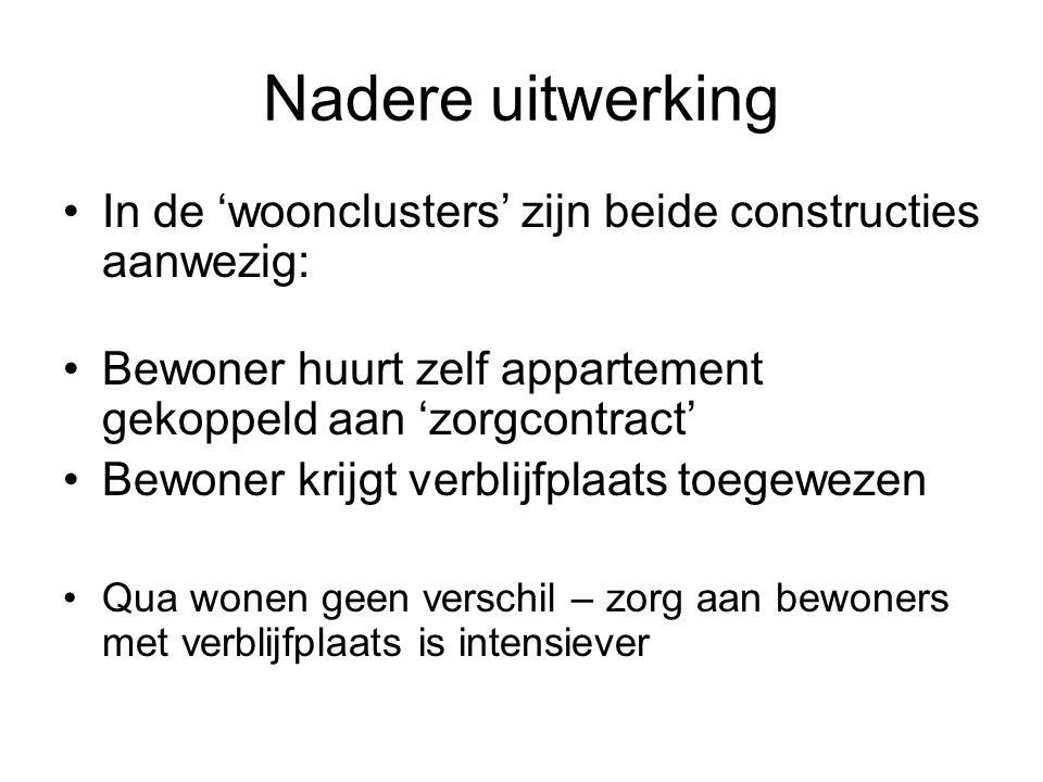 Nadere uitwerking •In de 'woonclusters' zijn beide constructies aanwezig: •Bewoner huurt zelf appartement gekoppeld aan 'zorgcontract' •Bewoner krijgt