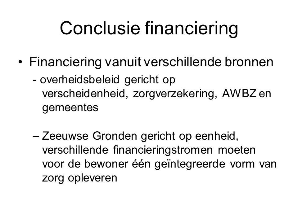Conclusie financiering •Financiering vanuit verschillende bronnen - overheidsbeleid gericht op verscheidenheid, zorgverzekering, AWBZ en gemeentes –Ze