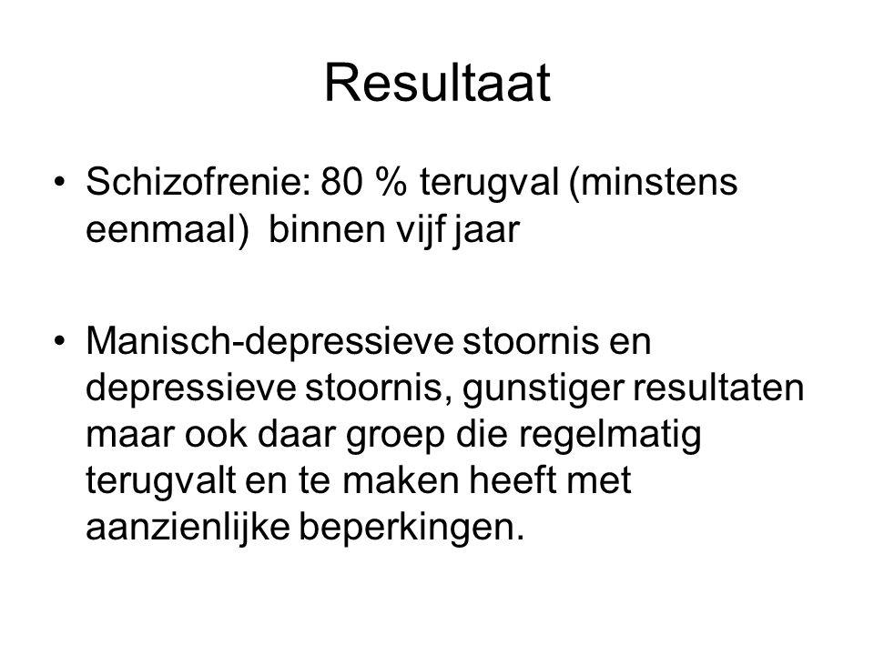 Resultaat •Schizofrenie: 80 % terugval (minstens eenmaal) binnen vijf jaar •Manisch-depressieve stoornis en depressieve stoornis, gunstiger resultaten