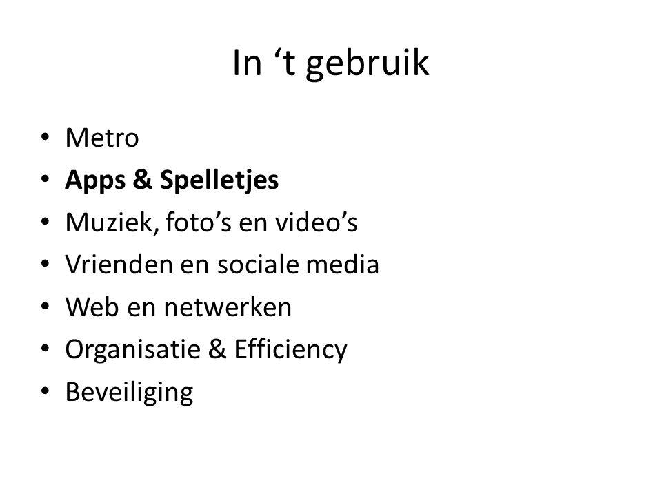 In 't gebruik • Metro • Apps & Spelletjes • Muziek, foto's en video's • Vrienden en sociale media • Web en netwerken • Organisatie & Efficiency • Beveiliging