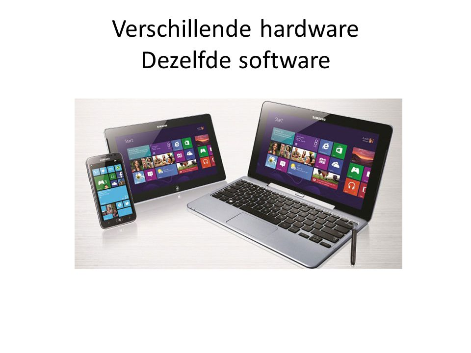 Versie verschillen • Windows RTTablets (incl Office 2013) – Apps only • Windows 8PC, Laptop, Ultrabook – Apps en normale software • Windows ProPC – Voor de expert, professional, enthousiasten • Windows 8 Enterprise – Voor bedrijven