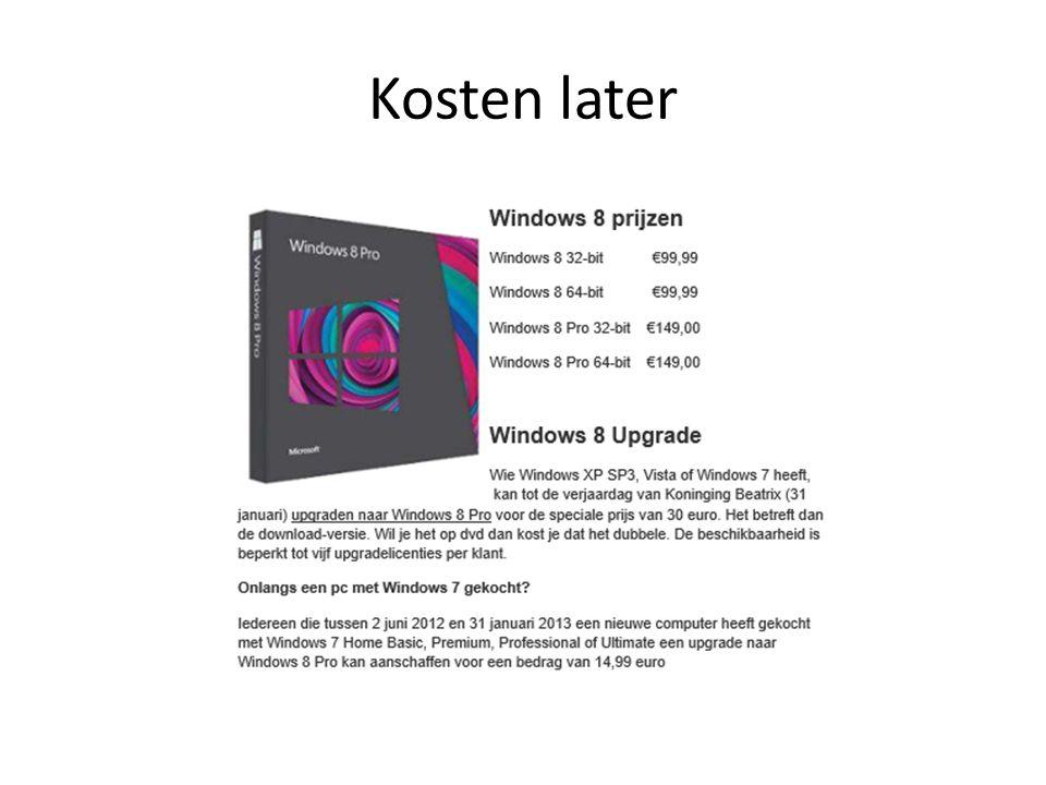 Web en netwerken • Internet Explorer 10sneller, veiliger • Wi-Fiof mobiel breedband • Thuisnetwerk • Delen via netwerk – Sinds W7 – Win RT niet thuisgroep maken • wel deelnemen