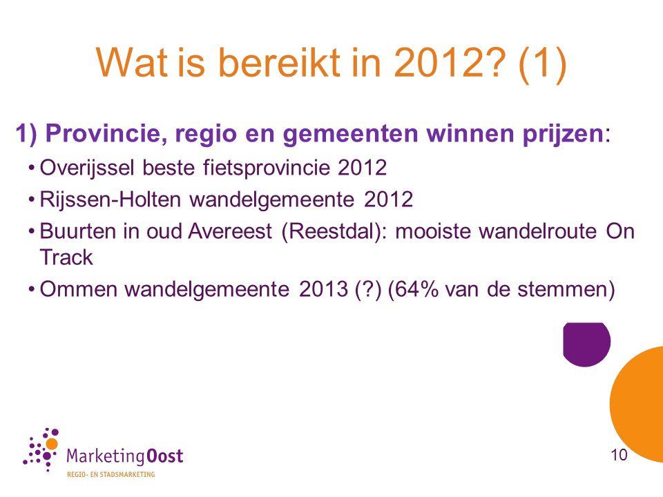 1) Provincie, regio en gemeenten winnen prijzen: •Overijssel beste fietsprovincie 2012 •Rijssen-Holten wandelgemeente 2012 •Buurten in oud Avereest (Reestdal): mooiste wandelroute On Track •Ommen wandelgemeente 2013 (?) (64% van de stemmen) Wat is bereikt in 2012.