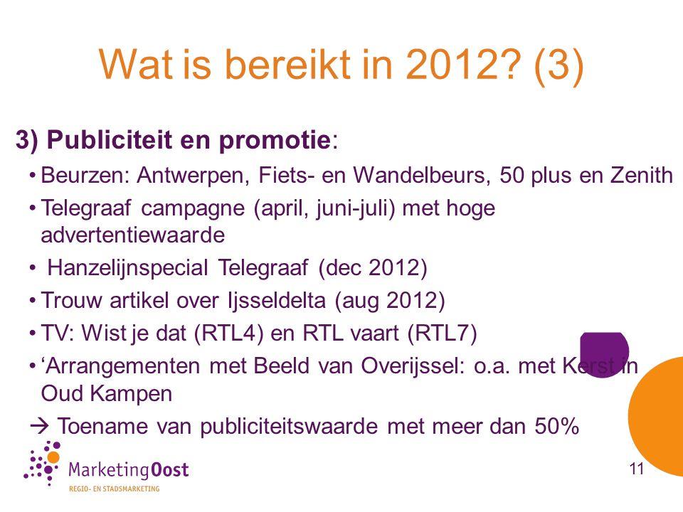 3) Publiciteit en promotie: •Beurzen: Antwerpen, Fiets- en Wandelbeurs, 50 plus en Zenith •Telegraaf campagne (april, juni-juli) met hoge advertentiewaarde • Hanzelijnspecial Telegraaf (dec 2012) •Trouw artikel over Ijsseldelta (aug 2012) •TV: Wist je dat (RTL4) en RTL vaart (RTL7) •'Arrangementen met Beeld van Overijssel: o.a.