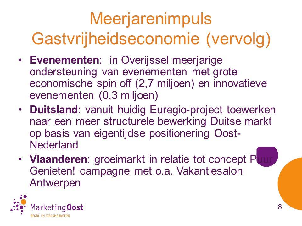 Meerjarenimpuls Gastvrijheidseconomie (vervolg) •Evenementen: in Overijssel meerjarige ondersteuning van evenementen met grote economische spin off (2,7 miljoen) en innovatieve evenementen (0,3 miljoen) •Duitsland: vanuit huidig Euregio-project toewerken naar een meer structurele bewerking Duitse markt op basis van eigentijdse positionering Oost- Nederland •Vlaanderen: groeimarkt in relatie tot concept Puur Genieten.