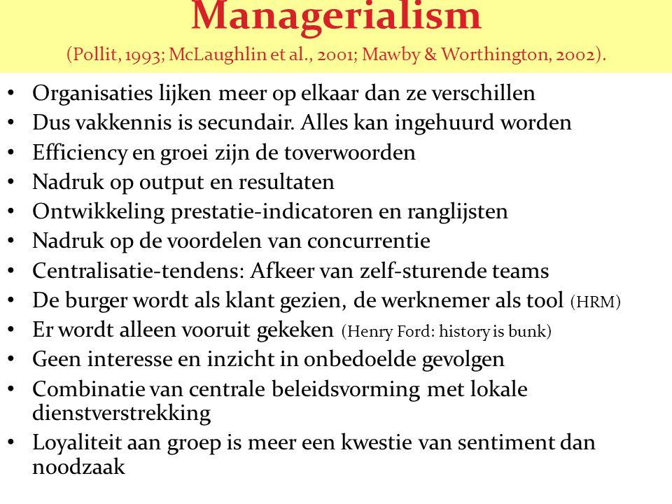Managerialism (Pollit, 1993; McLaughlin et al., 2001; Mawby & Worthington, 2002). • Organisaties lijken meer op elkaar dan ze verschillen • Dus vakken
