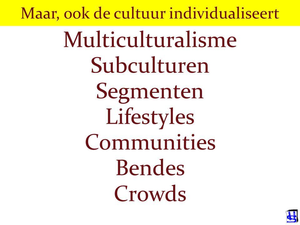 Maar, ook de cultuur individualiseert Multiculturalisme Subculturen Segmenten Lifestyles Communities Bendes Crowds
