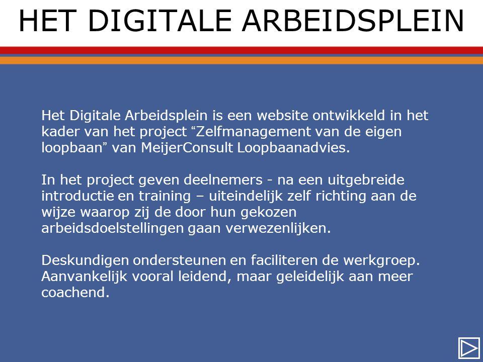 HET DIGITALE ARBEIDSPLEIN Het Digitale Arbeidsplein is een website ontwikkeld in het kader van het project Zelfmanagement van de eigen loopbaan van MeijerConsult Loopbaanadvies.