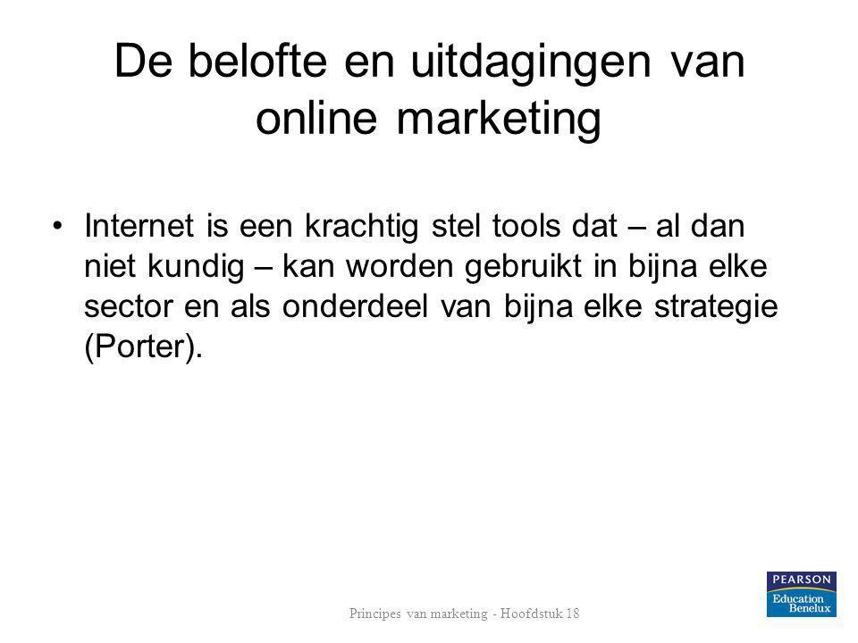 De belofte en uitdagingen van online marketing •Internet is een krachtig stel tools dat – al dan niet kundig – kan worden gebruikt in bijna elke secto