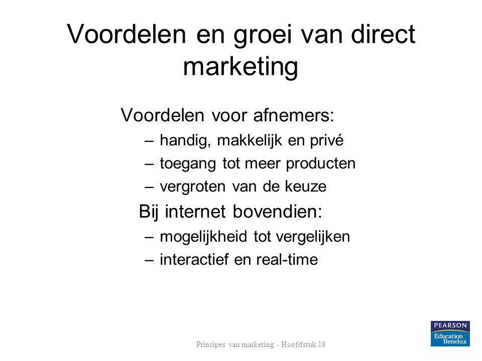 Voordelen en groei van direct marketing Voordelen voor afnemers: –handig, makkelijk en privé –toegang tot meer producten –vergroten van de keuze Bij i