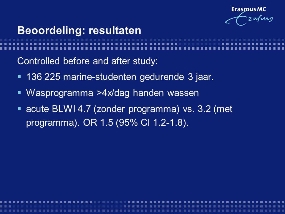Beoordeling: resultaten Controlled before and after study:  136 225 marine-studenten gedurende 3 jaar.  Wasprogramma >4x/dag handen wassen  acute B