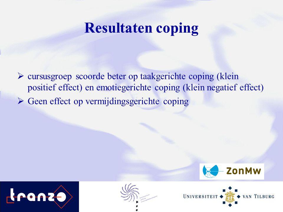 Resultaten coping  cursusgroep scoorde beter op taakgerichte coping (klein positief effect) en emotiegerichte coping (klein negatief effect)  Geen e