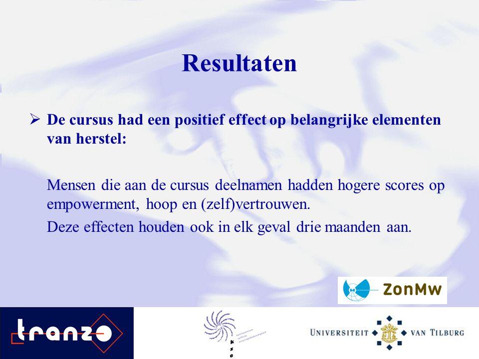 Resultaten  De cursus had een positief effect op belangrijke elementen van herstel: Mensen die aan de cursus deelnamen hadden hogere scores op empowe