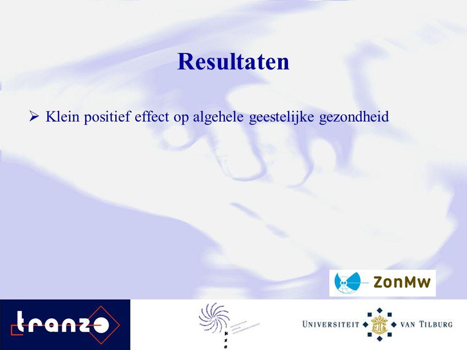 Resultaten  Klein positief effect op algehele geestelijke gezondheid