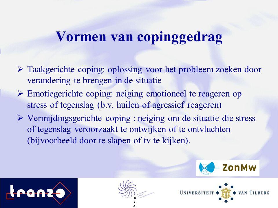 Vormen van copinggedrag  Taakgerichte coping: oplossing voor het probleem zoeken door verandering te brengen in de situatie  Emotiegerichte coping:
