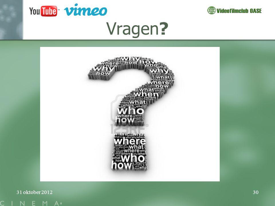 31 oktober 201230 Vragen?