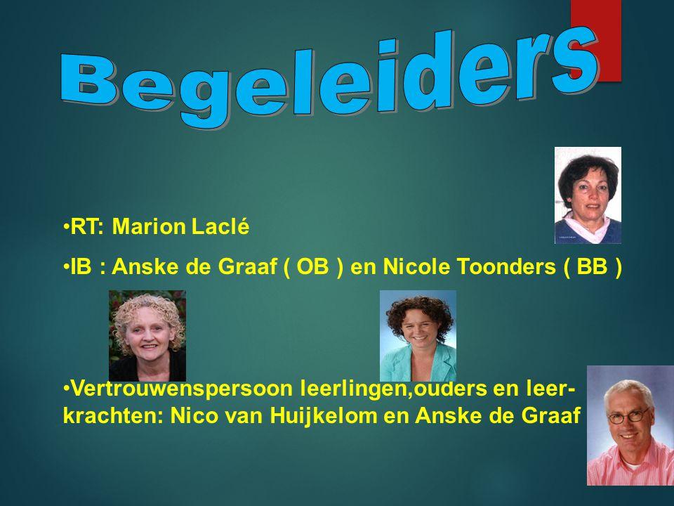 •R•RT: Marion Laclé •I•IB : Anske de Graaf ( OB ) en Nicole Toonders ( BB ) •V•Vertrouwenspersoon leerlingen,ouders en leer- krachten: Nico van Huijkelom en Anske de Graaf