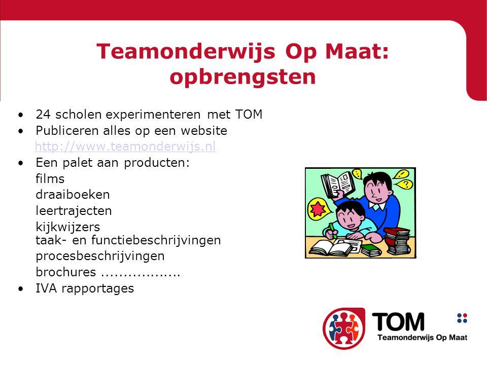 Teamonderwijs Op Maat: opbrengsten •24 scholen experimenteren met TOM •Publiceren alles op een website http://www.teamonderwijs.nl •Een palet aan producten: films draaiboeken leertrajecten kijkwijzers taak- en functiebeschrijvingen procesbeschrijvingen brochures..................