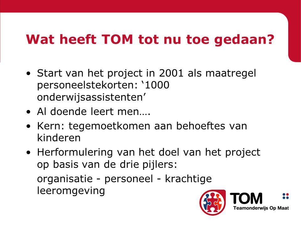 Wat heeft TOM tot nu toe gedaan.