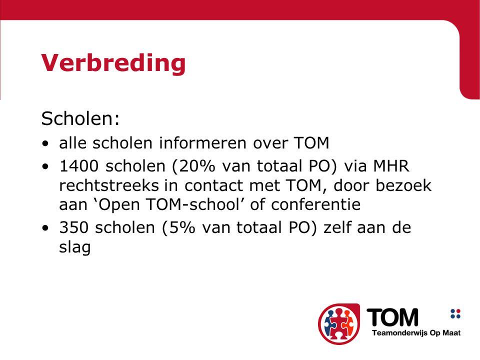 Verbreding Scholen: •alle scholen informeren over TOM •1400 scholen (20% van totaal PO) via MHR rechtstreeks in contact met TOM, door bezoek aan 'Open TOM-school' of conferentie •350 scholen (5% van totaal PO) zelf aan de slag