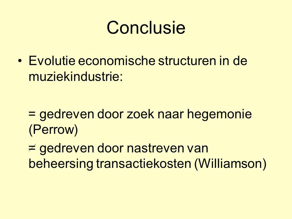 Conclusie •Evolutie economische structuren in de muziekindustrie: = gedreven door zoek naar hegemonie (Perrow) = gedreven door nastreven van beheersin
