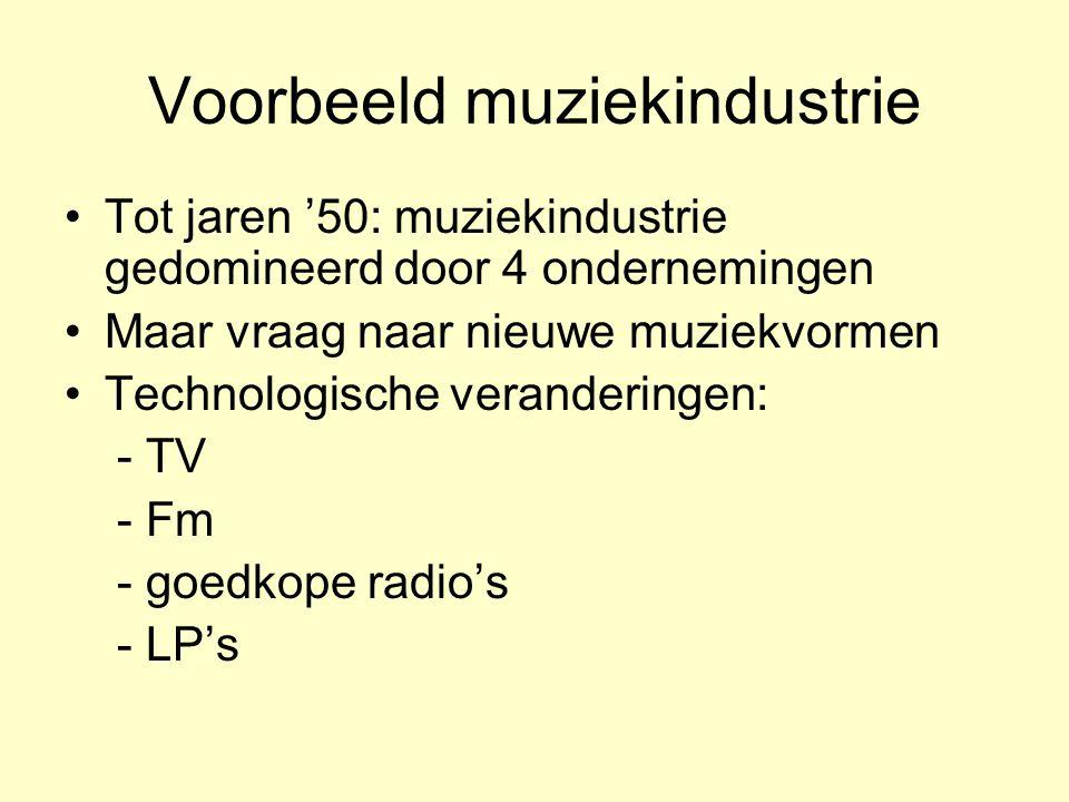 Voorbeeld muziekindustrie •Tot jaren '50: muziekindustrie gedomineerd door 4 ondernemingen •Maar vraag naar nieuwe muziekvormen •Technologische verand