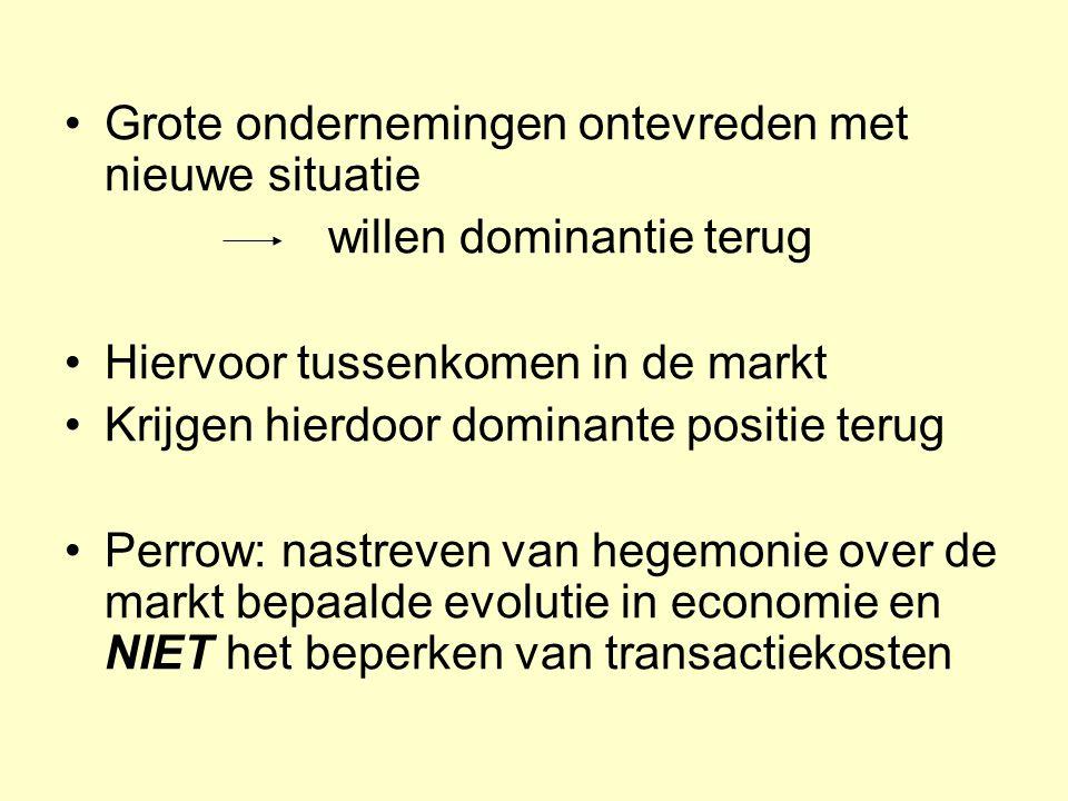 •Grote ondernemingen ontevreden met nieuwe situatie willen dominantie terug •Hiervoor tussenkomen in de markt •Krijgen hierdoor dominante positie teru
