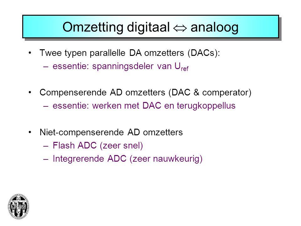 •Twee typen parallelle DA omzetters (DACs): –essentie: spanningsdeler van U ref •Compenserende AD omzetters (DAC & comperator) –essentie: werken met D
