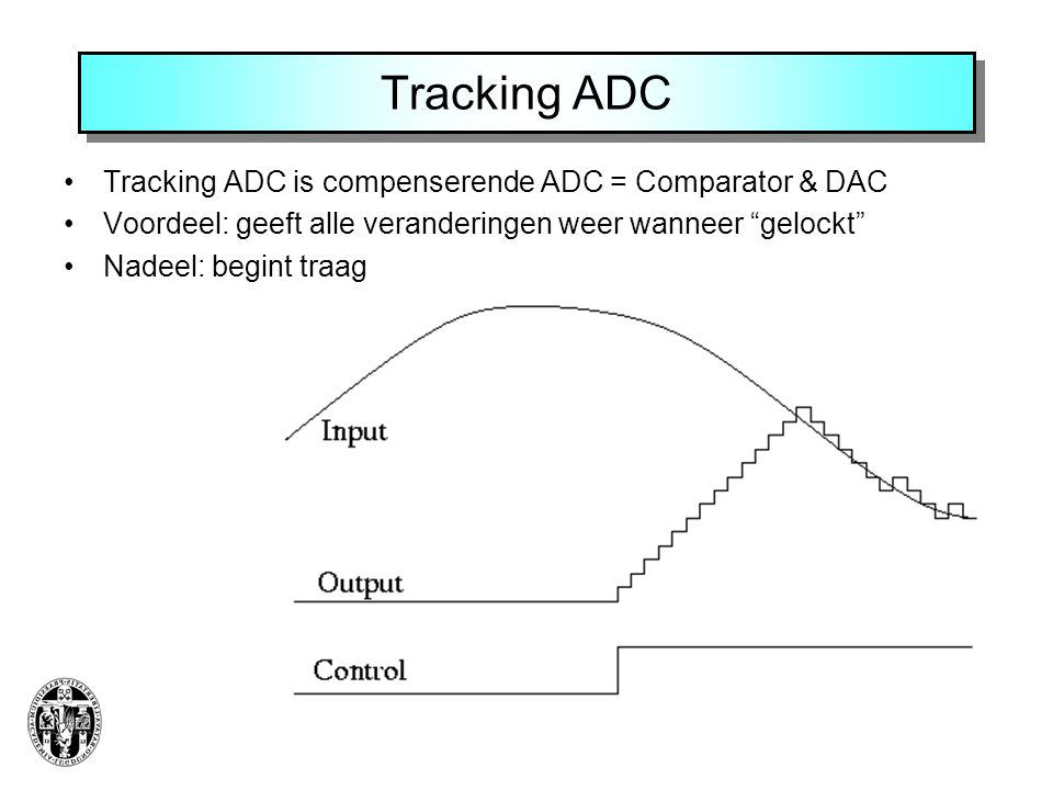 """Tracking ADC •Tracking ADC is compenserende ADC = Comparator & DAC •Voordeel: geeft alle veranderingen weer wanneer """"gelockt"""" •Nadeel: begint traag"""