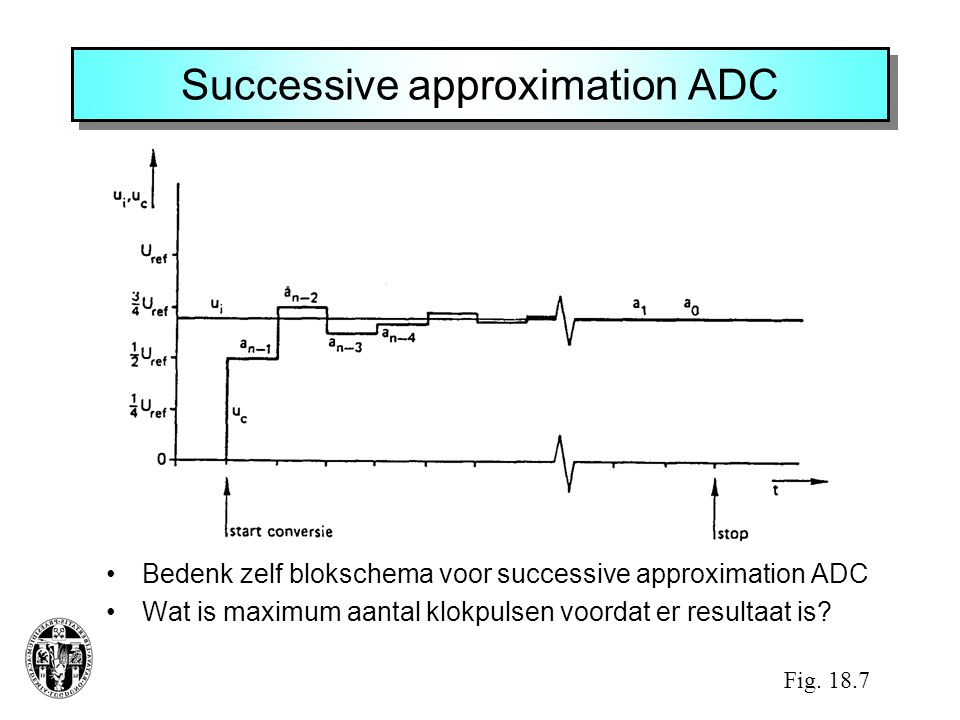 Successive approximation ADC •Bedenk zelf blokschema voor successive approximation ADC •Wat is maximum aantal klokpulsen voordat er resultaat is.