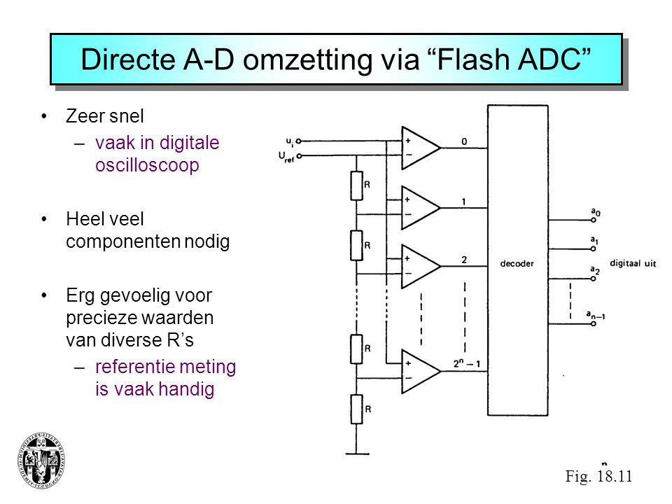 """Directe A-D omzetting via """"Flash ADC"""" •Zeer snel –vaak in digitale oscilloscoop •Heel veel componenten nodig •Erg gevoelig voor precieze waarden van d"""