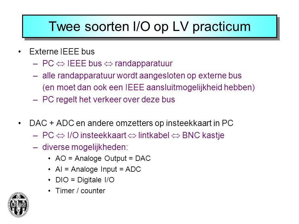 Twee soorten I/O op LV practicum •Externe IEEE bus –PC  IEEE bus  randapparatuur –alle randapparatuur wordt aangesloten op externe bus (en moet dan