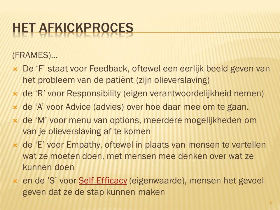 (FRAMES)…  De 'F' staat voor Feedback, oftewel een eerlijk beeld geven van het probleem van de patiënt (zijn olieverslaving)  de 'R' voor Responsibility (eigen verantwoordelijkheid nemen)  de 'A' voor Advice (advies) over hoe daar mee om te gaan.