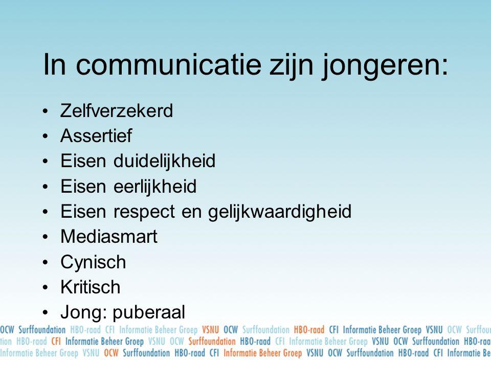 In communicatie zijn jongeren: • Zelfverzekerd • Assertief • Eisen duidelijkheid • Eisen eerlijkheid • Eisen respect en gelijkwaardigheid • Mediasmart