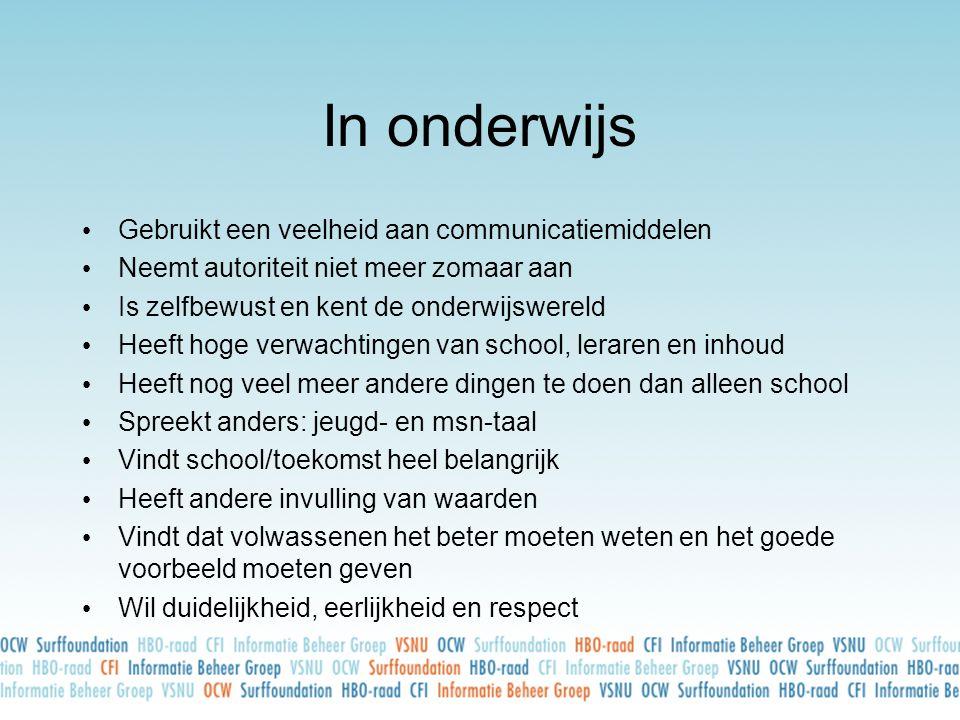 In onderwijs • Gebruikt een veelheid aan communicatiemiddelen • Neemt autoriteit niet meer zomaar aan • Is zelfbewust en kent de onderwijswereld • Hee